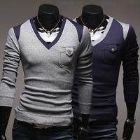 2014 spring male slim color block unique decoration V-neck pocket button pullover sweater