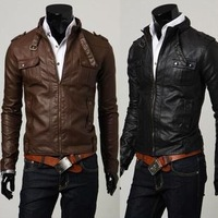 2014 Rushed Man Faux Leather  Spring And Autumn Pocket Design leather Mandarin Collar Slim Male Stand Collar Motorcycle Leather