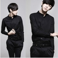 2014 Real Time-limited Cotton Full Leisure free Shipping Plus Size Autumn Male Fashion Stand Collar Color Long-sleeve Slim Shirt
