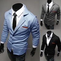 Men Suit Blaser Masculino Blazer Masculino 2014 Spring Male Fashion Turn-down Collar Pocket Leather Slim Knitted Casual Blazer