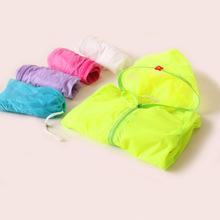 Children outerwear new 2014 brand Kis summer jackets  full sleeve  zipper with cap baby girl coat  children unisex trench coat(China (Mainland))