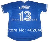 Wholesale baseball Toronto blue jays #13 Brett Lawrie blue jerseys, please read size chart before order