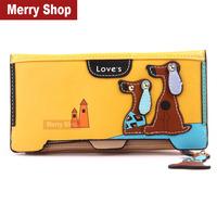2014 Women Brand Wallets fashion cartoon cute puppy women's long wallet PU leather Lady purse coin purse