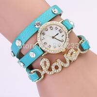 2014 Retro Fashion Leather Love Charms Watch Women Diamond Dress Wristwatches