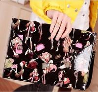 2014 Fashion Beauty Evelope Bag Purse!Women Vintage Evelope Clutches!Large Leather Evelope Shoulder Handbag!(blue white black)