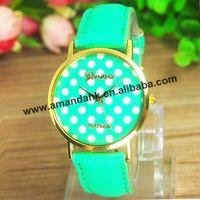 100pcs/lot Brand New Promotion Geneva watches Unisex Fashion Leather Watch Women Polka Dots wristWatches  whosale lady watches