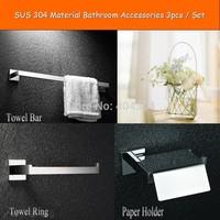 Bathroom Accessories Bath Hardware Set Square Solid SUS 304 S/S  ,Towel Ring,Paper Holder,Single Towel Bar,3 pcs/set-wholesale