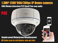 Free Shipping HD 960P 1.3MP IP Camera  20m IR distance Onvif P2P support  vandal-proof and waterproof POE Two way audio support