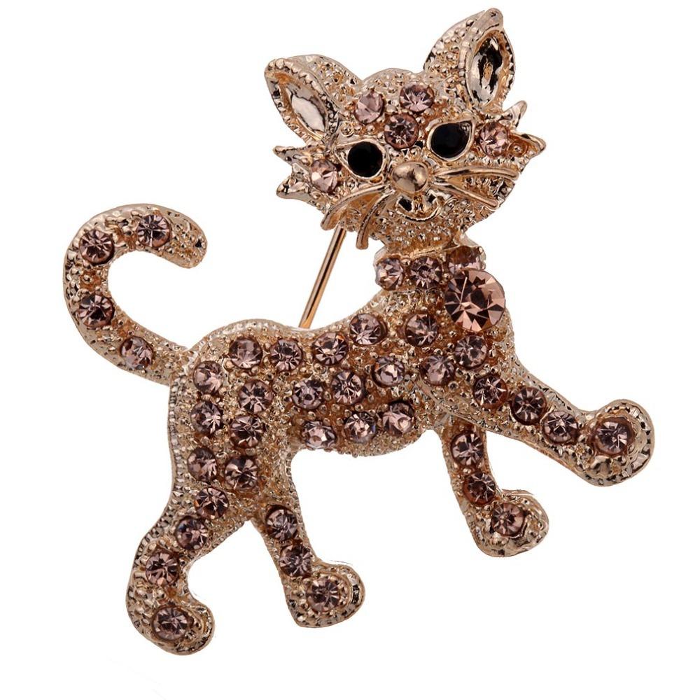 Fashion Gold Plated Carve Full Brown Rhinestone Crystal Tiger Brooch Bridal Gift Free Shipping(China (Mainland))