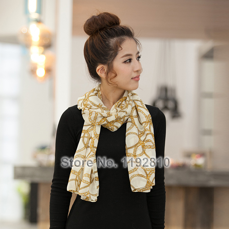 Fashion Women Ring Chain Soft Chiffon Scarf 78x160cm Lady Wraps Hot Sale Shawl White & Black Color Good Gift for Girl 1415(China (Mainland))