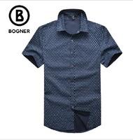free shipping Boger shirt short-sleeve men's clothing 2014 summer straight fashion shirt 100% male cotton shirt