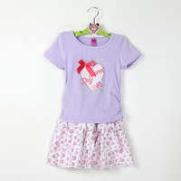 Retail children's clothing sets Girls Floral Dress Suit  kids summer wear short sleeve top + skirt clothes sets children's sets