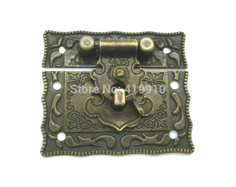 Free-Shipping-5Sets Jewelry Box Hasp Latch Lock Decorative Hasp Antique Bronze Pattern Carved 5.1cm x 2.9cm 5.1cm x 3.5cm M01349(China (Mainland))