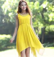 2014 Summer women fashion Asymmetric dress,plus size S - XXXL beading solid tank dress, Asymmetric party dress