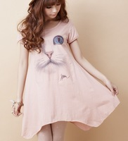 Fashion Hot Lady Short Seleeve O-Neck Lovely Cat image Print Dress for Women Dropshiping Free #04598
