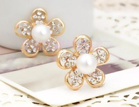 100pcs/lot, Pearl five petals metal buttons Rhinestone Metal Alloy Wedding Craft Buttons, Wholesale Free Shipping