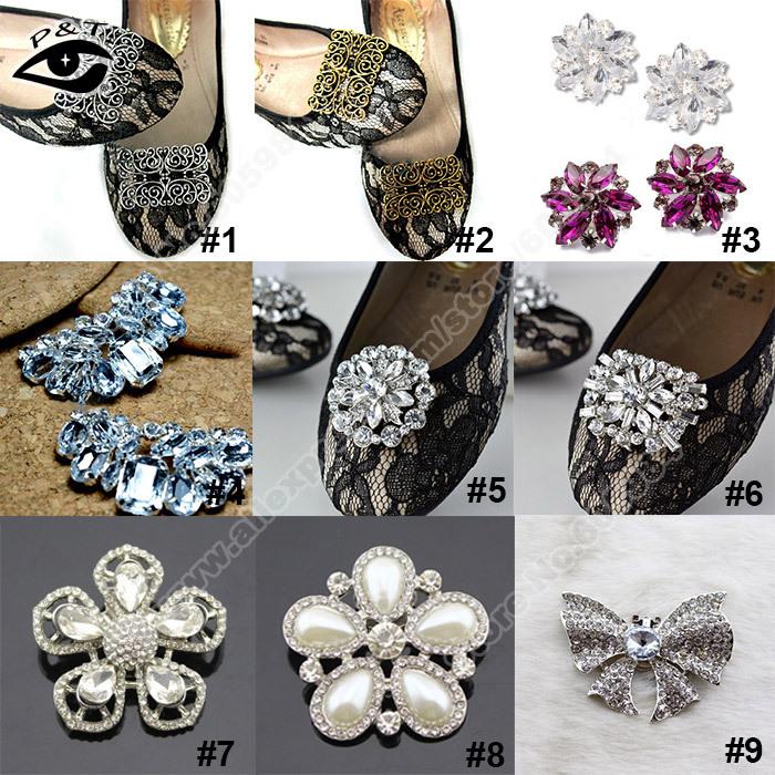 Frete Grátis 20 Pares / lote projeto Mista Shoe Clip-On Clipe Ornamento Deco com acessórios de metal clipe de artesanato para sapatos de casamento(China (Mainland))