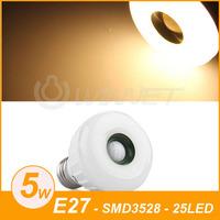 E27 25 LED 3528 SMD Warm White Light Lamp Infrared PIR Motion Sensor Detector 5W