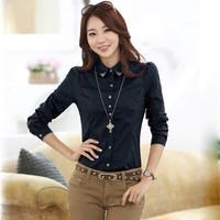 2015 Petal Sleeve Cotton Ladies Casual Shirt Body Knitted Fashion Collar Blouses Elegant Cheap Clothes China Blusinhas Femininas