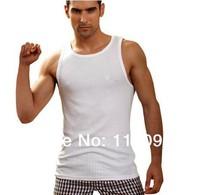 2014 New Fashion men's clothing base wholesale low price man Pure color o-neck t-shirts vest size L,XL,XXL white black gray