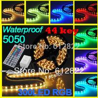 1pcs /lot  RGB led strip SMD 5050  Waterproof 300 Led Strip Light + 44 Keys IR Remote   free shipping