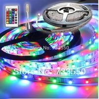 New 5M/roll RGB 3528 SMD Flexible Not waterproof 300 LED Strip Light + 24 key IR Remote Control+ free shipping