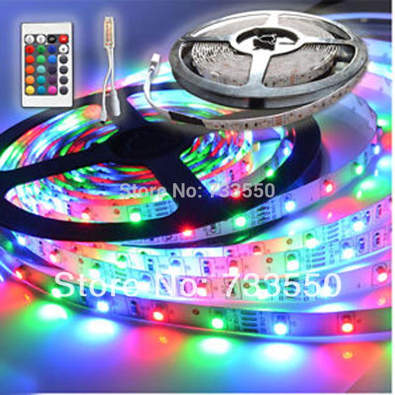 New 5M/roll RGB 3528 SMD Flexible Not waterproof 300 LED Strip Light + 24 key IR Remote Control+ free shipping(China (Mainland))