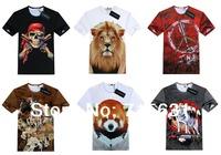 2014 New Animal 3D T-Shirts, Summer Men/Women Casual Cotton Fashion Short-Sleeve 3D T-shirt, S-XL 10 kinds of patterns MT-01402