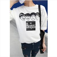 2014 new big size loose cartoon 4 beatles Profile T-shirt for women new casual women tops cotton shirts white grey