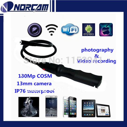 Freeshippiing 1.3MP 2.4Gzh wifi Inspection Camera wifi Borescope 13mm Lens pinhole Multifunctional Endoscope flexible camera(China (Mainland))