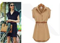 2014 New Summer Casual Women Solid Loose Chiffon Mini Dresses Dress with Belt, Navy Blue, Khaki, 5 Size S - XXL