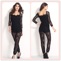 2014 New Arrival Sexy Off Neck Lace Jumpsuit LC6293 rompers womens jumpsuit clothing set Women Lace Clothes Black Accessories