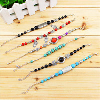 Wholesale Lot 6 pcs Antique Silver Plated Mixed Design Assorted Color Turquoise Bracelets TB5055