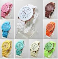 electronic 2014 new  Geneva Casual Watch Women Dress Watch Quartz Military men Silicone watches Unisex Wristwatch Sports watch