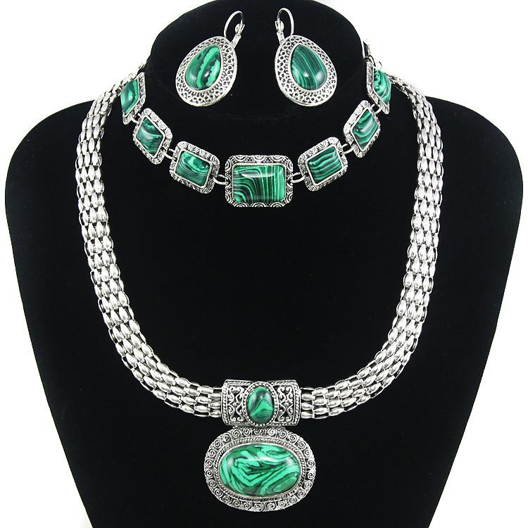 Emerald green malachite stone natural jewelry green sets choker necklaces bracelet big green earrings jewelry sets green nkek57(China (Mainland))