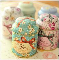 Free shipping New vintage style scrub charming little flower tea tin case mini round shape container portable storage tin box
