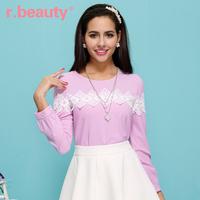R . beauty spring and autumn women's all-match long-sleeve top o-neck chiffon shirt r14a2235 crochet