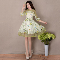[LYNETTE'S CHINOISERIE - YHT ] 2014 Spring New Elegant Slim Women Organza Print Patchwork Cute Lady Dress Sz S M L XL XXL XXXL
