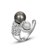 A240 Europe and America  jewelry wholesale jewelry genuine Austrian crystal platinum gray pearl ring brand  2010204330 B10