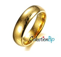 Free Shipping** hot fashion lord 18K gold plating jewelry Of The Rings for men women stainless steel ring -width 6mm
