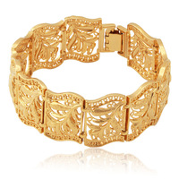 New Item Vintage Scroll Leaves Cuff Bracelet Bangle 18K Real Gold Plated Bangle Fashion Jewelry For Women Wholesale MGC H5195