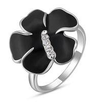 A278 White Gold Professional jewelry wholesale Austrian crystal jewelry platinum black plum Ring 2010226280 B8