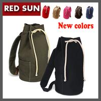 2014 Korean new 7 colors large capacity men drawstring backpack canvas bucket bag unisex Fashionable concise basketball bags1014