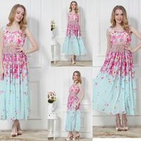 New Arrivals Bohemian Summer Women's Dress Indigo small Cherry Blossom Print  Fresh Style Beach Dress 8508#