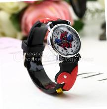 1pcs Fashion Red Sports Watch Cute Cartoon 3D Spiderman Child Wrist Watch Children Watch Gift hot selling