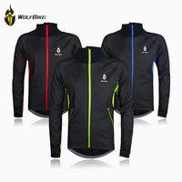 WOLFBIKE Black Winter Thermal Fleece Windproof/waterproof Long Sleeve Cycling Jersey Clothing Wear Reflective cycling jacket
