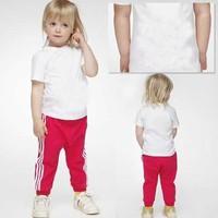 New 2014 Spring summer girls clothing sets children tshirt + kids pants Sports Set 1-5 years Fashion Brand Children