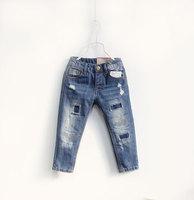 5pcs/lot Causal Blue Cotton denim boy pants Fashion hole cool jeans Kids trouser