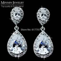 2014 New Top Quality Teardrop AAA Cubic Zirconia Czech Diamond Drop Long Bridal Earrings for Women Free Shipping