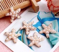 50pcs metal buttons Pearl starfish  buckle rhinestone button pearl wedding Invitation embellishment Scrapbooking Napkin Ring